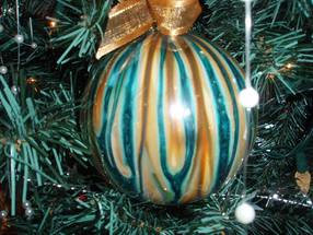 """Gold and Blue Ball Christmas Ornament 3.5"""""""