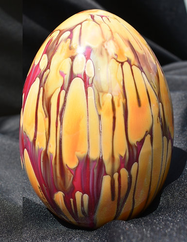 "Orange and Red Porcelain painted Luster Egg 6"" Oval"