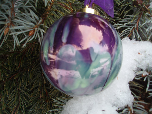 Light Green and Purple Christmas Ornament 3.5""