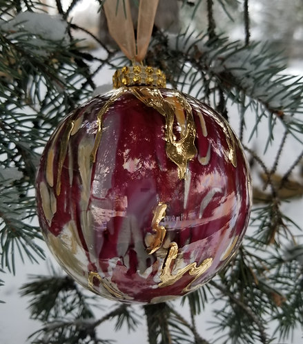 "Light Orange and Red/Purple Christmas Ornament 3.5""with Textured 24K Gold"