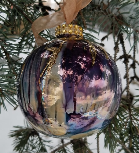 "Orange/Purple Christmas Ornament 3.5""with Textured 24K Gold"