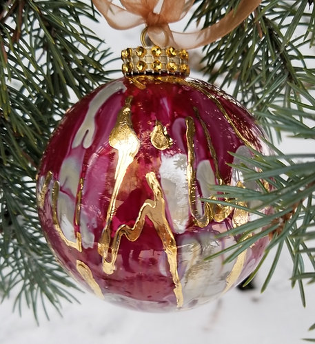 """Light Orange/Red Christmas Ornament 3.5""""with Textured 24K Gold"""