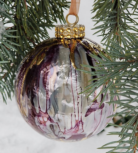 """Orange/Red/Purple Christmas Ornament 3.5""""with Textured 24K Gold"""