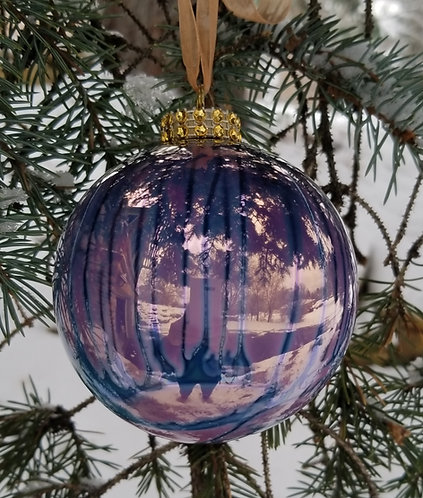 Light Purple/Turquoise Christmas Ornament 3.5""