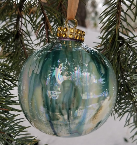 Green/Turquoise Christmas Ornament 3.5""