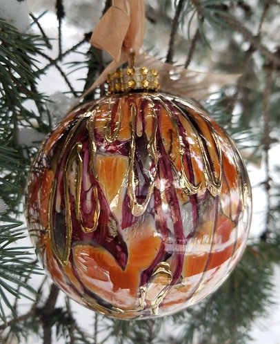 "Orange and Red - Christmas Ornament 3.5""with Textured 24K Gold"