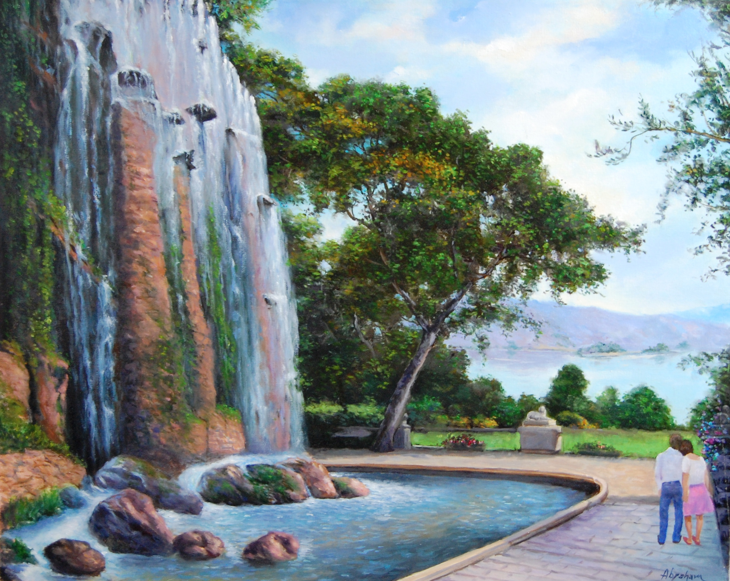 Italian Fountain Landscape - $800