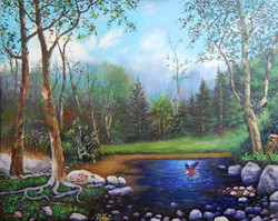 River with Eagle - $2000