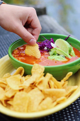 Red Pork Pozole - Agua Verde Cafe - Chip