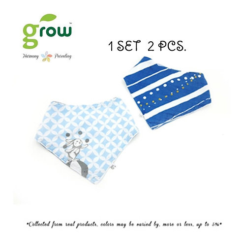 Grow Bamboo Muslin NickNack Bandana Pack of 2 -�Vintage blue rabbit