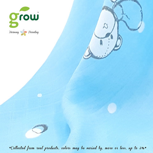 Grow Bamboo Muslin Fit sheet - Bubble Bear Blue