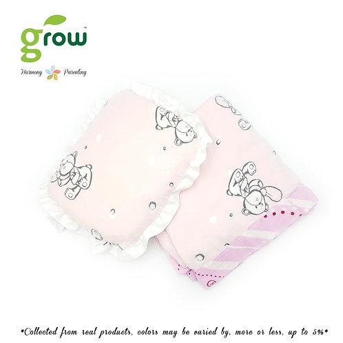 Grow-ผ้าห่มมัสลินใยไผ่bamboo muslin blanket-Bubble Bear Rose Pink