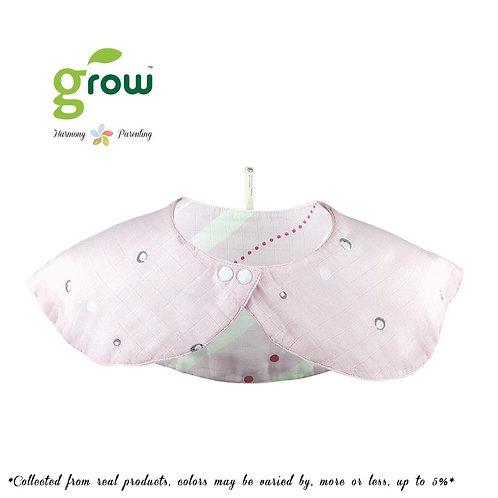 Grow organic bamboo muslin mom collar bib - Rose pink bear