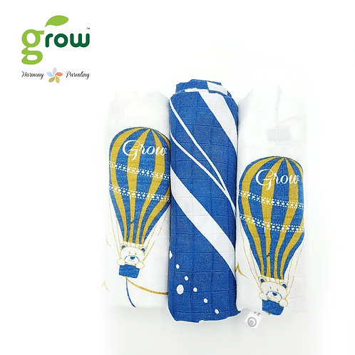 Grow-bamboo muslin cloth diapers-Bearboo in Paris Royal Blue