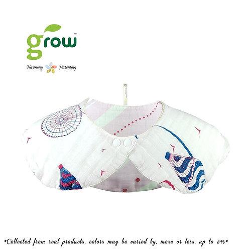 Grow organic bamboo muslin mom collar bib - Royal pink paris