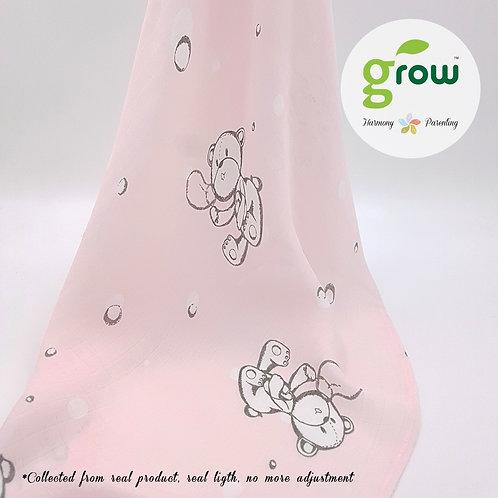 Grow Muslin Swaddle-ผ้าห่อตัวมัสลินใยไผ่ออร์เเกนิคลายBubble Bear Rose Pink