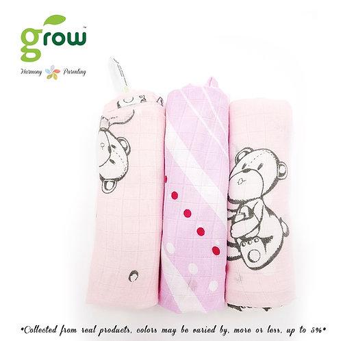Grow-bamboo muslin cloth diapers-bubble bear Rose Pink