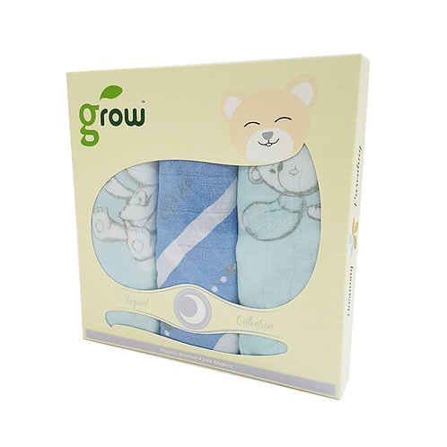 Grow-bamboo muslin cloth diapers-bubble bear