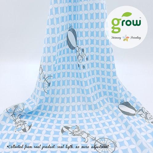 Grow Muslin Swaddle-ผ้าห่อตัวมัสลินใยไผ่ออร์เเกนิคลายFantasy Circus Blue
