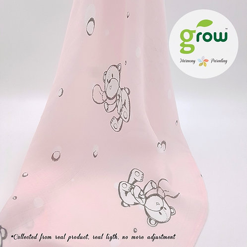 Grow Bamboo Swaddle - Rose Pink Bear