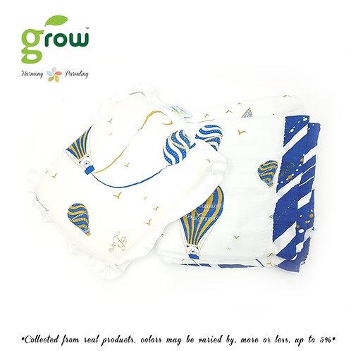 Grow-ผ้าห่มมัสลินใยไผ่bamboo muslin blanket-Bearboo in Paris Royal Blue