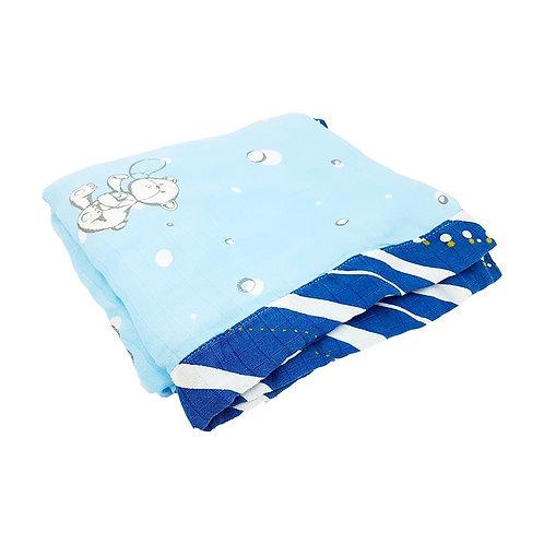 Grow bamboo muslin blanket - Crystal Blue bear