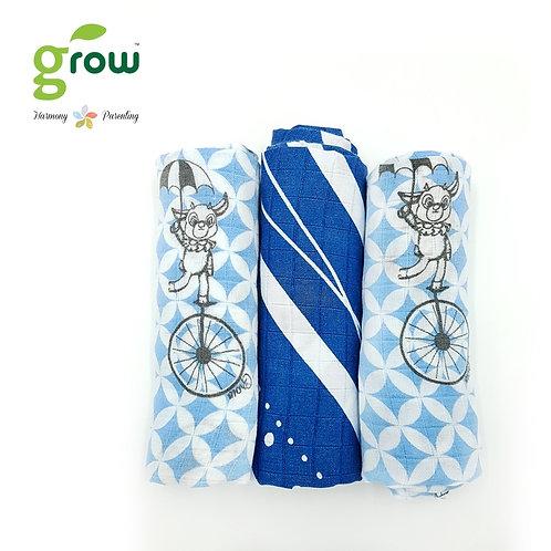 Grow-bamboo muslin cloth diapers-Fantasy Circus Blue