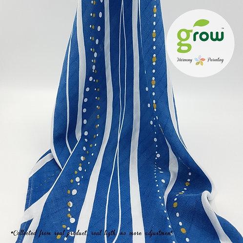 Grow Muslin Swaddle-ผ้าห่อตัวมัสลินใยไผ่ออร์เเกนิคลาย Rivera Deep Ocean