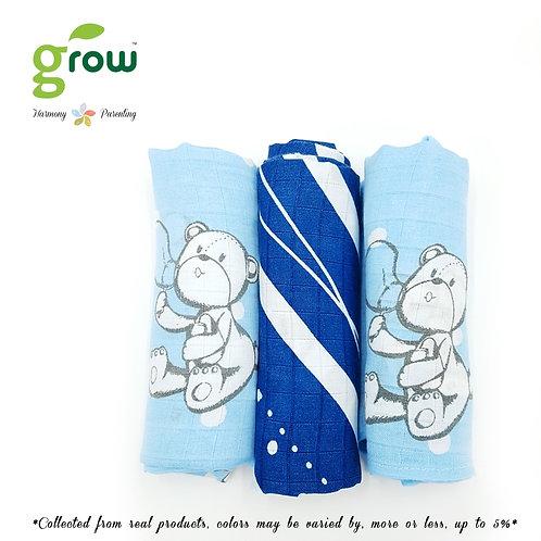 Grow-bamboo muslin cloth diapers-bubble bear Crystal Blue