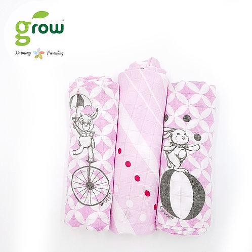 Grow-bamboo muslin cloth diapers-Fantasy Circus Pink