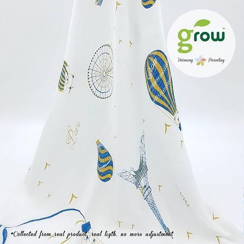 Grow Muslin Swaddle-ผ้าห่อตัวมัสลินใยไผ่ออร์เเกนิคลายBearboo in Paris Royal Blue