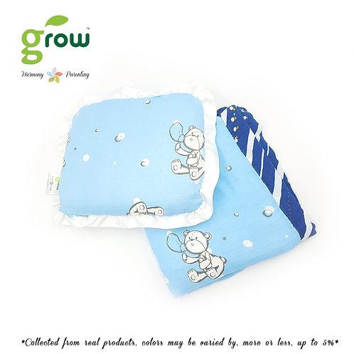 Grow-ผ้าห่มมัสลินใยไผ่bamboo muslin blanket-Bubble Bear Crystal Blue