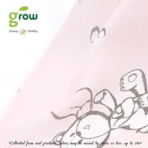 Grow Bamboo Muslin Fit sheet - Bubble Bear Pink