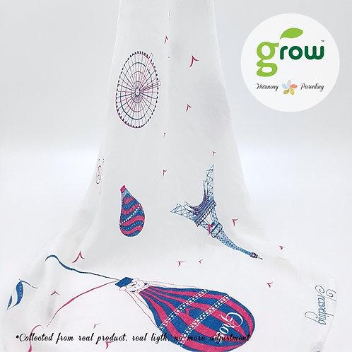 Grow Muslin Swaddle-ผ้าห่อตัวมัสลินใยไผ่ออร์เเกนิคลายBearboo in Paris Royal Pink