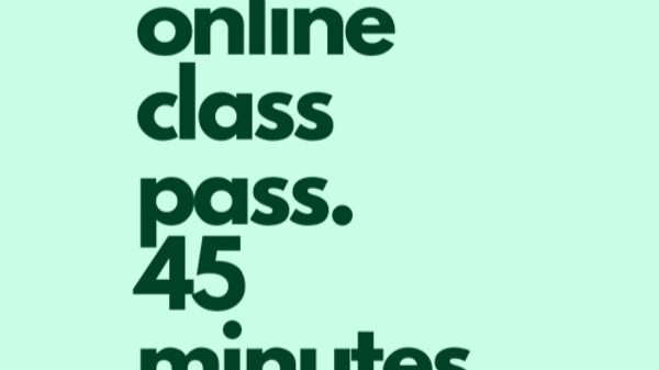 45 min Online class pass