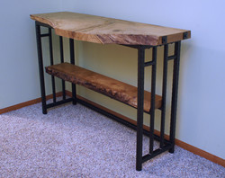 Pin Oak Sofa Table-Side Angle View