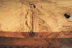 Pin Oak Sofa Table-Closeup of Tabletop