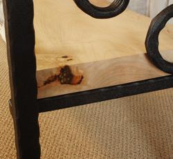 Sofa Table with Inlay-Closeup of Tiger Eye Inlay on Shelf