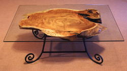 Cork Oak Coffee Table with Glass Top