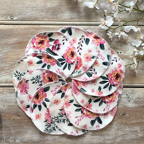 Large Reusable Wipes (x10) - Pink Flowers
