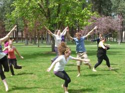 Final class dancing outside