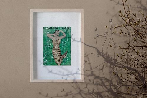 LA SIRENE EPILEE, collage sur papier, tableau humoristique, vendu encadré