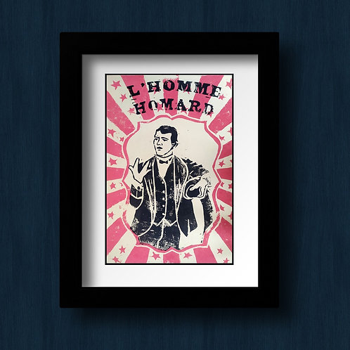 Fred Wilson , l'homme homard, linogravure Collection Freak Show