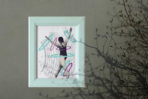 HULA HOP, collage sur papier, vendu encadré