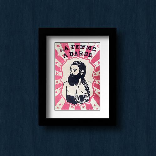 Annie Jones , la femme à barbe, linogravure Collection Freak Show