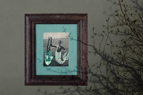 LA PECHE MIRACULEUSE, collage sur papier, vendu encadré