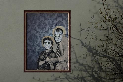 LE COUPLE ICONIQUE, collage sur papier, vendu encadré