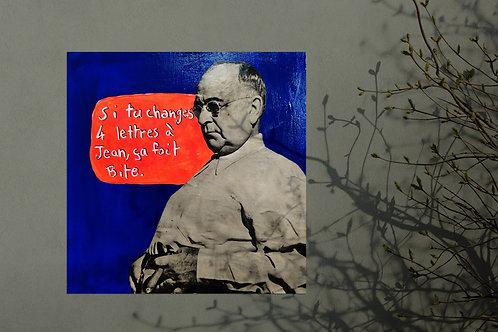 JEAN BITE, collage sur toile, tableau humoristique