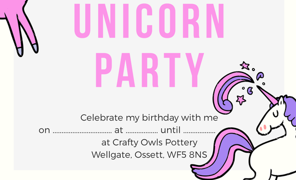 Crafty Owls Unicorn Party Invitation