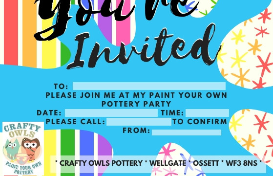 Crafty Owls Splat Birthday Party Invitat